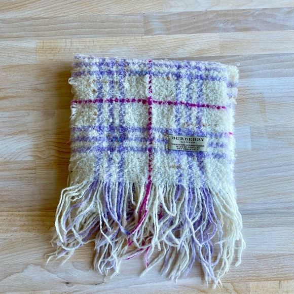 Authentic Burberry Wool Purple & White Plaid Scarf